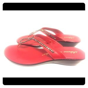 Athena Alexander Red rhinestone sandals